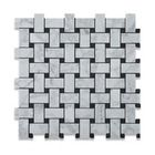 Carrara Marble Basketweave Mosaic Tile with Grey Dots, 1 Sq. Ft., Honed, 1 Sq. F - Contemporary - Mosaic Tile - by Tiles R Us