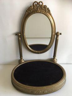 Messing Tafel Spiegel Lodewijk XIV-stijl Bekroond Met Opengewerkt Strikje