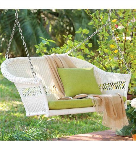 White Easy Care Resin WIcker Swing. P&H