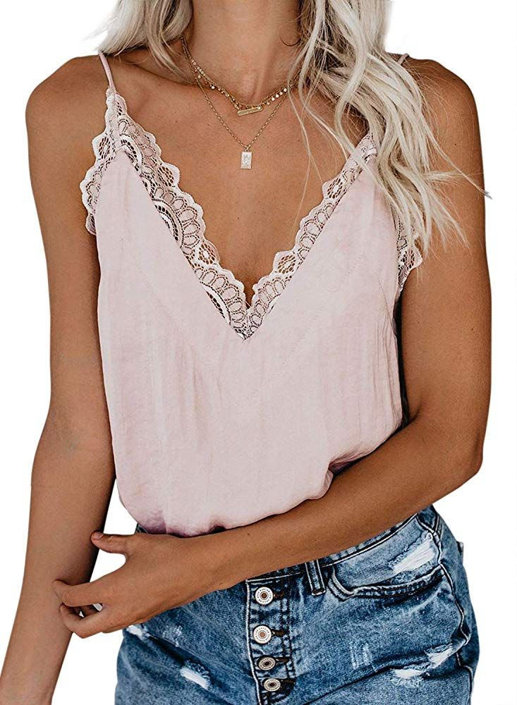Women Lace V Neck Tank Top Sleeveless Cami Crop Top Vest T-shirt Summer Blouse