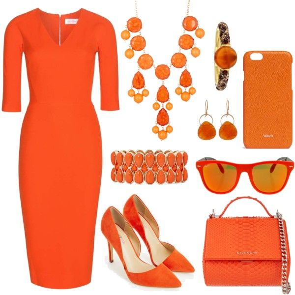 sunset orange by paperandpen on Polyvore featuring Victoria Beckham, JustFab, Givenchy, Natasha Accessories, Liz Claiborne, Jona, Melissa Joy Manning, Valextra and Ray-Ban