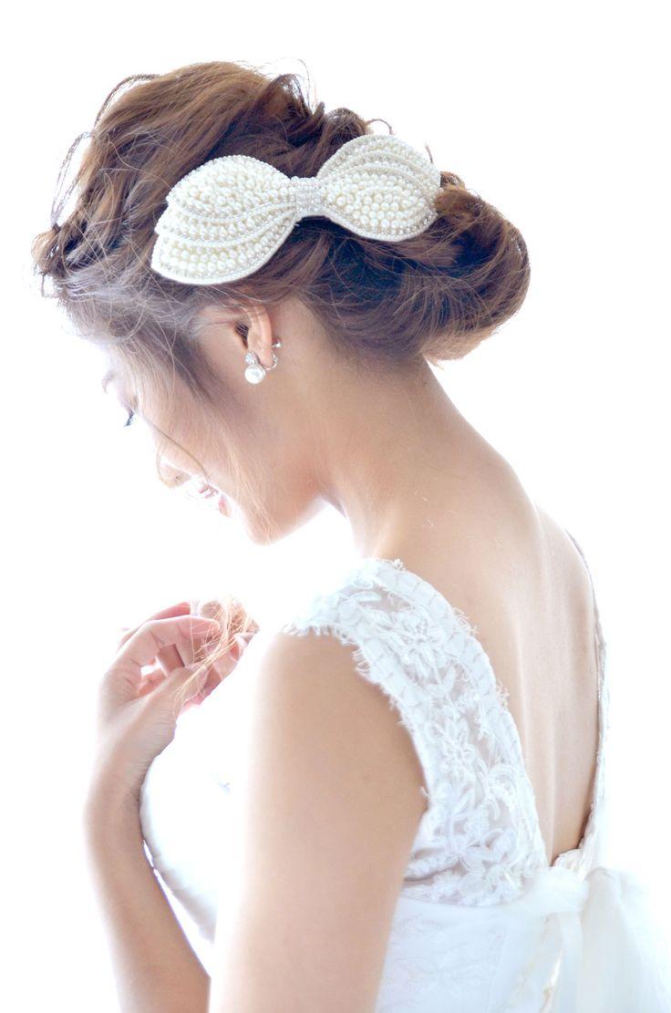 ヘッドドレス(髪飾り)【ボンネ】リボン プリティパール