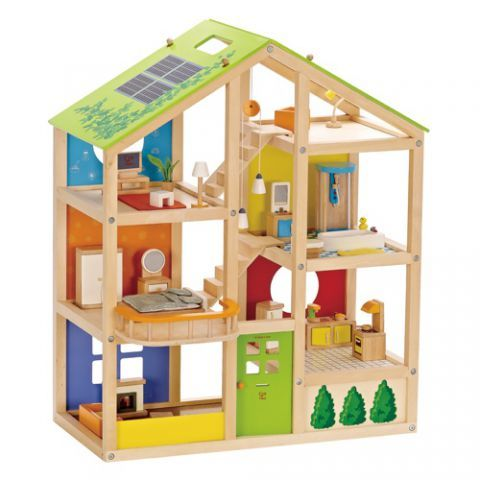 Furnished wooden dollhouse