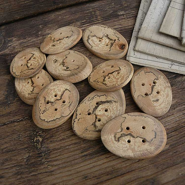 03.Big oval oak wood buttons / Grossi bottoni ovali in legno di quercia - 1.37 x 1.96 inches - 3,5 cm x 5 cm