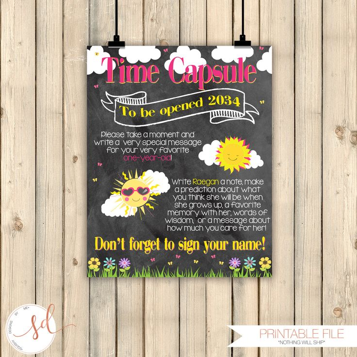 invitation words forst birthday party%0A Sunshine Birthday Time Capsule Chalkboard Poster  Girl Blue Yellow First  Birthday  Little Sunshine Birthday Party Decorations  Digital by  SquishyDesignsbyMe