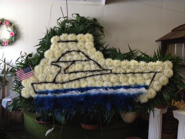 Funeral Arrangement Boat | flower arrangements by City ...
