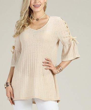 1c45fa866b2 This Stone Tie-Sleeve Scoop Neck Tunic - Women   Plus is perfect!   zulilyfinds