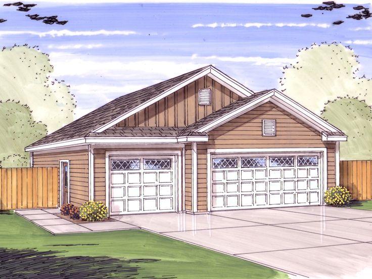 Simpler front style 3 car entry 6 car tandem garage for 3 car tandem garage house plans