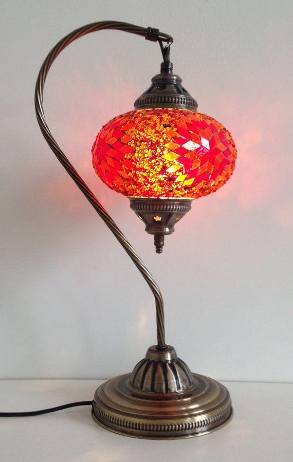 Burnt Orange Swan Neck Turkish Mosaic Lamp With Vintage