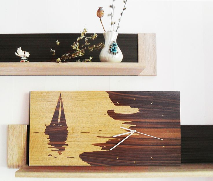 """Very quiet clock. Perfect for the bedroom and the whole house! Note! Our product does not use paints or burn! Our products are going to handmade from pieces of different color wood veneer. Clock executed in old technique of marquetry. This is an art of creating wooden pictures. Size 28x56cm / 11""""x22"""". Wall Clock Living Room Clock Bedroom Dining Room Gift Clock Rustic Wooden Clock Minimalist Ship Decor Natural Wood Kitchen Decor Kid Baby"""