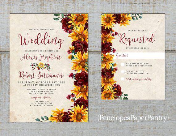 Rustic Sunflower Fall Wedding Invitation,Sunflowers,Burgundy Roses,Greenery,Parchment,Shabby Chic,Printed Invitation,Wedding Set,Envelopes