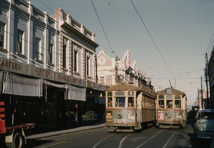 Trams in Hay Street, outside Charlie Carters