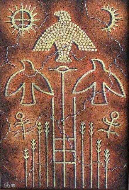 1) Painting titled Táltos Lélekfa ('spirit tree of the táltos') by Hungarian painter Márta Baranyai
