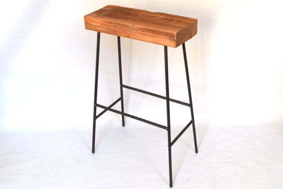 Barnwood Bar Stool Rustic Industrial Bar Stool by SummervilleDuke