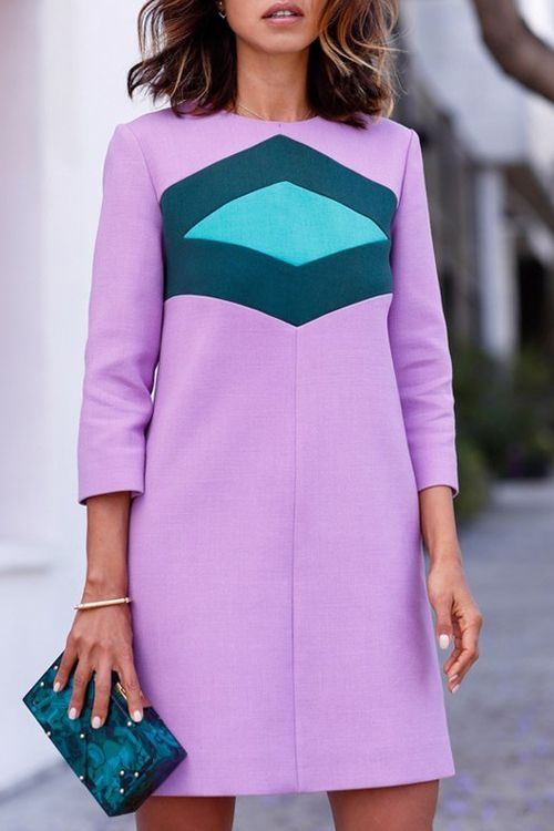 Geometric Pattern 3/4 Sleeves Dress
