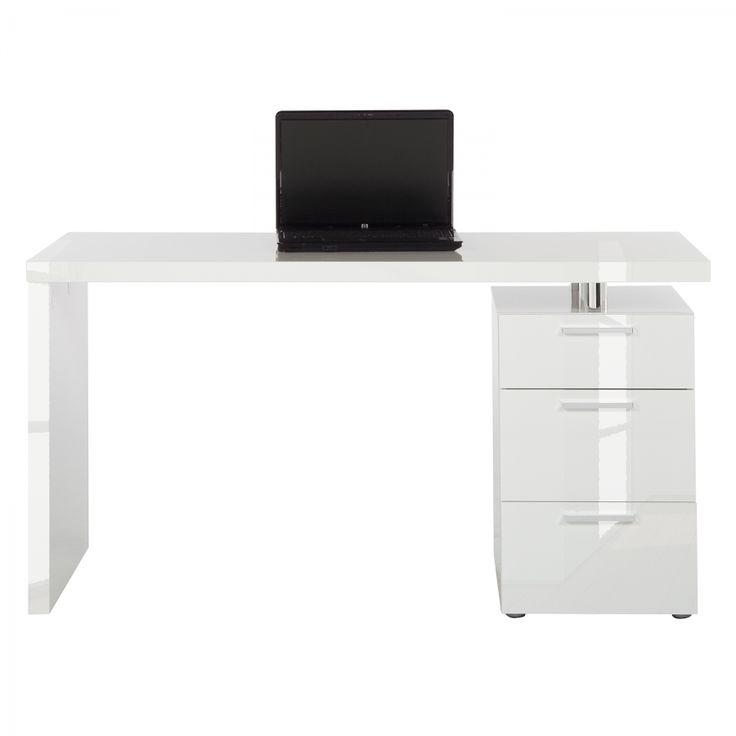 Schreibtisch Teshie - Hochglanz Weiß - mit Container