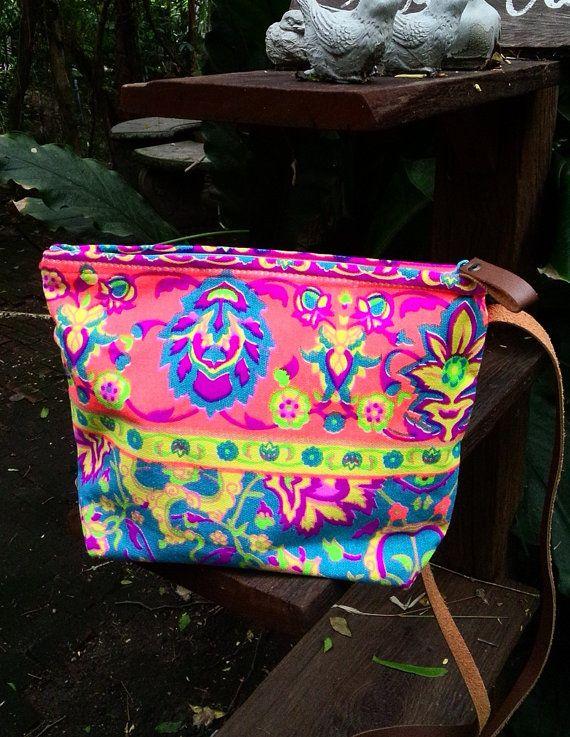 Cross-body Paint bag Colorful Neon Printed Tribal bag by BOHOPeach