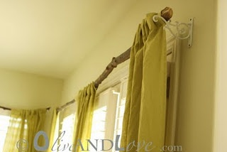 Tree Branch Curtain Rod (just finished putting up the one in the living room) :)