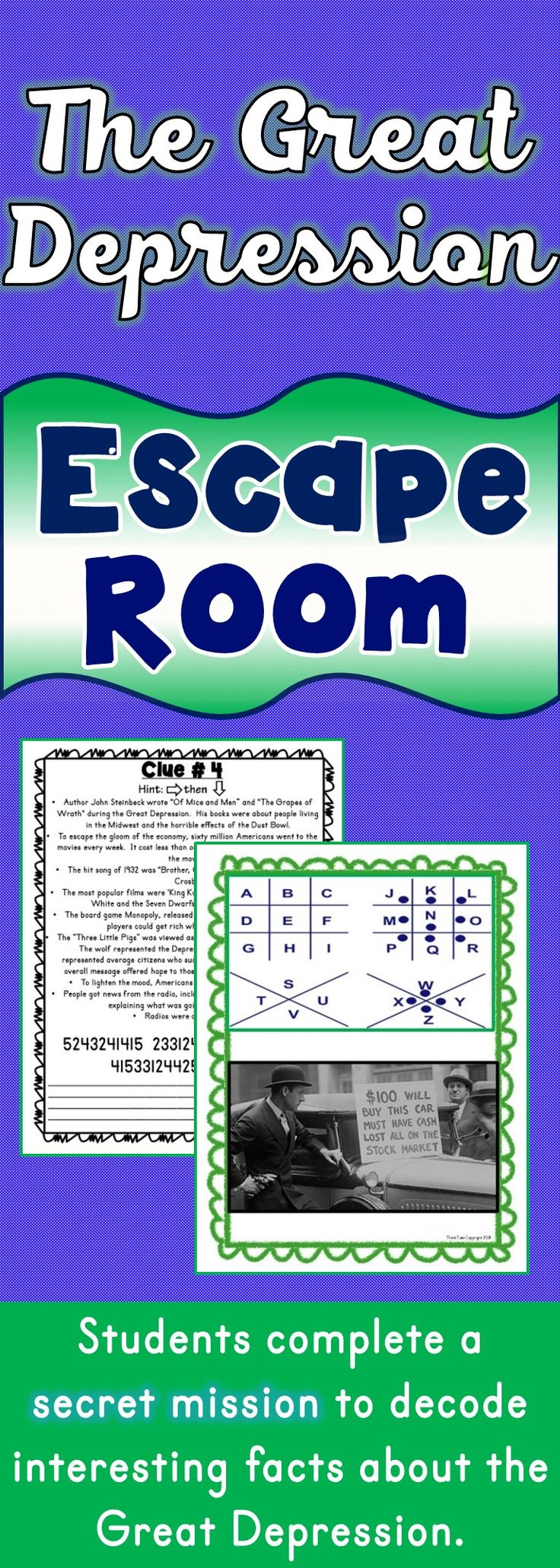 The Great Depression Escape Room will take students on a secret mission around the classroom! This escape room has students decode interesting facts about the Great Depression. This is the perfect resource to introduce or review the Great Depression, Dust Bowl, the Roaring Twenties or FDR. #escape #activities
