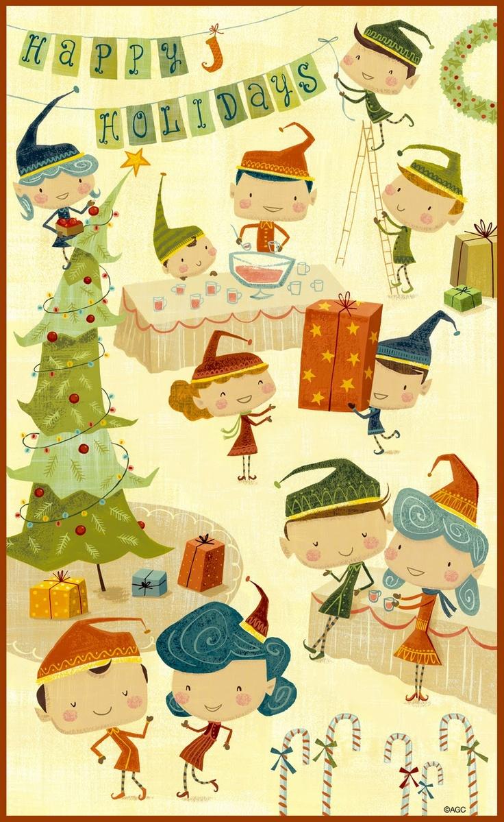 Richard Faust: Christmas Cards, Art Illustrations, Christmas Elf Illustrations, Vintage Christmas, Christmas Elves Illustrations, Calendar Christmas, Animation Illustrations, Christmas Prints, Illustrations Christmas