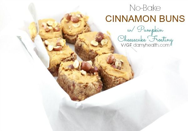 No Bake Cinnamon Buns with Pumpkin Cheesecake Frosting (vegan/gluten ...