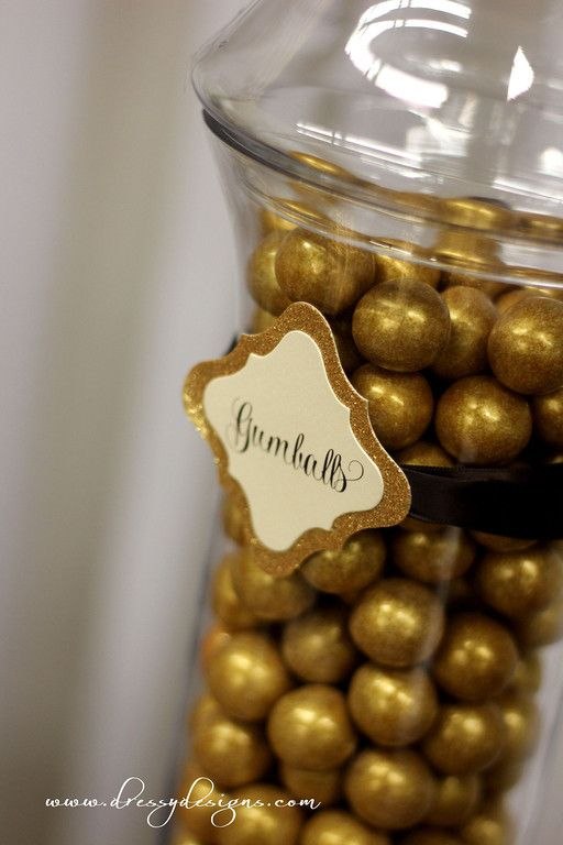 Gold and ivory candy/dessert buffet, gold gumballs