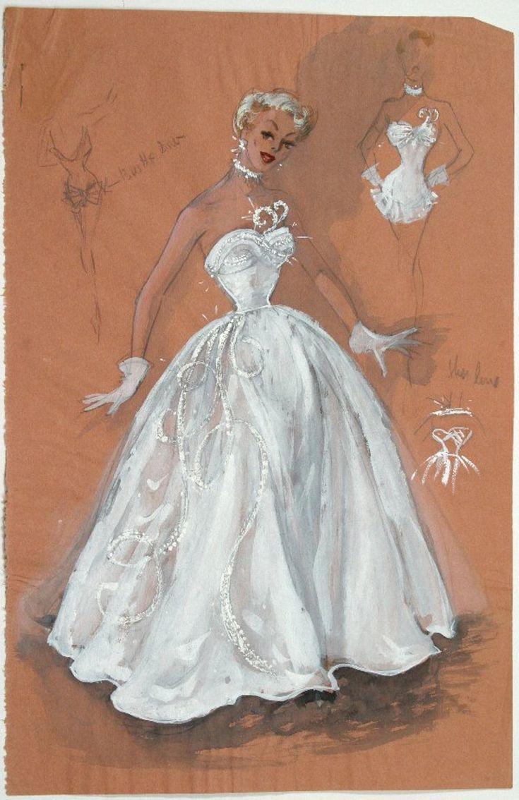 Edith Head Paramount Costume Design Sketch