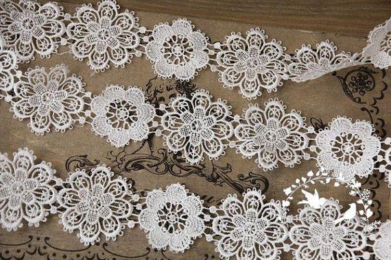 off white lace trim venise lace trim retro by WeddingbySophie, $4.80
