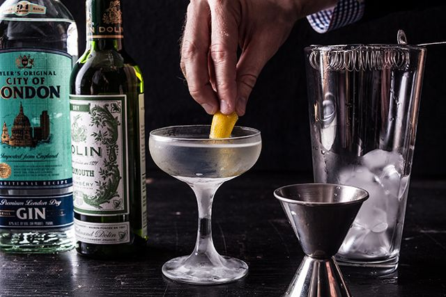 Perfect Martini Recipe 2 ounces gin 1 ounce dry vermouth Ice Lemon twist, for garnish Green olive (optional)