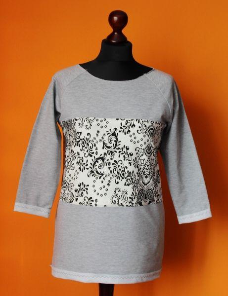 Bluza Szara Melanż Ornament Wstawka S-L New w RoomStyle na DaWanda.com