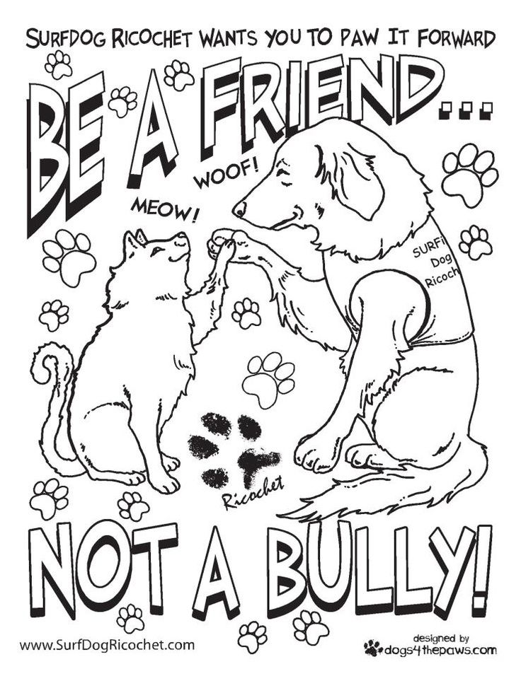 anti bullying coloring pages surf dog ricochet teachers etc my new coloring pages