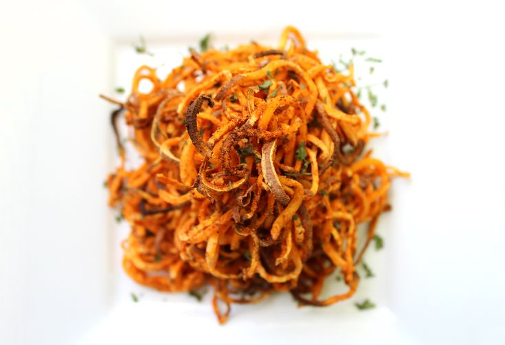 Spicy Spiralized Sweet Potato Fries   Strength and Sunshine @RebeccaGF666 #gluten-free #vegan #paleo #side #sweetpotato #fries