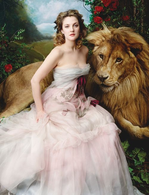 femmequeens:  Drew Barrymore in Christian Lacroix Spring/Summer 2005 Haute Couture photographed by Annie Leibovitz, Vogue Magazine April 2005