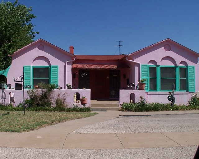 pepto house = A real house in Midland, TX. WHAT! I can't beliee this is on Pinterest! HA! It's called the pepto bismol house and it has been painted like that for 30+ years.