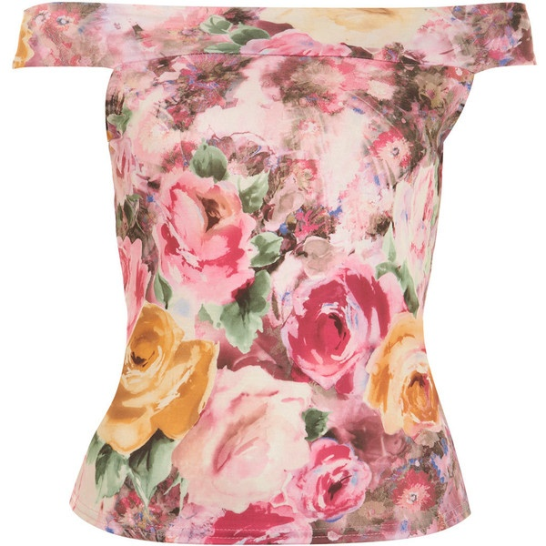 Floral Bardot Top ($12) ❤ liked on Polyvore