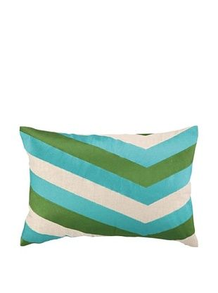 53% OFF Iza Pearl Calypso Stripe Embellished Pillow, Azul