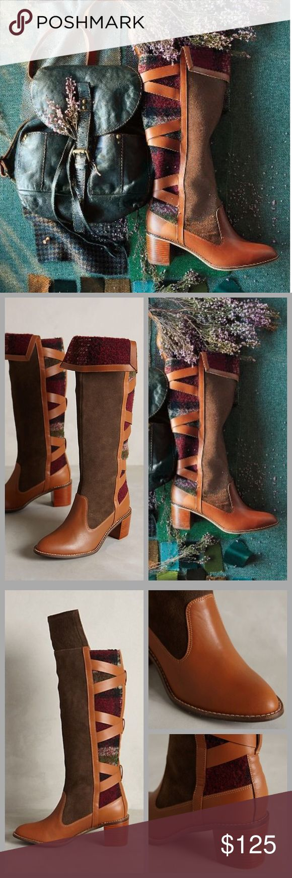 """❤️Anthropologie Wheat Ridge Boots❤️ Worn only twice- a few light scuffs. I will only consider reasonable offers through the offer button, NO TRADES!  Harkening back to the craft of the neighborhood cobbler, Schuler & Sons combine leather and wool work in tandem to create a tall boot with warmth and style. We'd pair them with tucked-in skinnies and a pintucked top.   By Schuler & Sons Fits true to size Leather, wool upper Leather insole Synthetic sole 2.25"""" stacked leather heel 13.75""""H; 14""""…"""