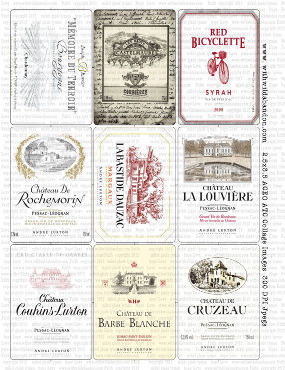 Vintage French Wine Labels Clipart in ACEO by With Wild Abandon    Vintage French Wine Labels