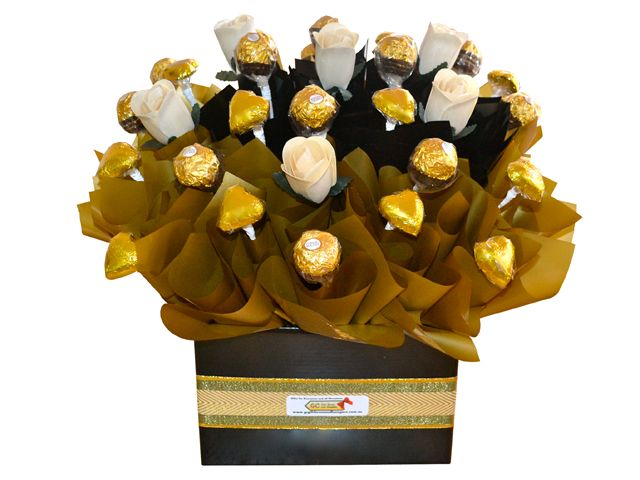 Golden Shades, Rose and Chocolate Bouquet