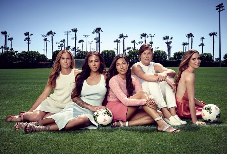 U.S. Women's Soccer team—including (from left) captain Christie Rampone, 39, and players Sydney Leroux, 25, Christen Press, 26, Abby Wambach, 34, and Morgan Brian, 22. (via Glamour)