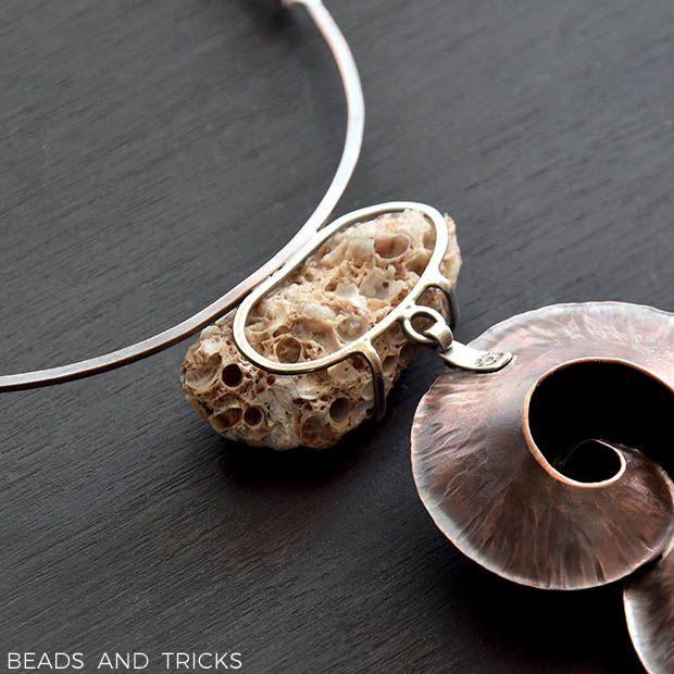 Copper, silver and found on the beach piece of shell cluster. Foldforming | Handmade by Beads and Tricks
