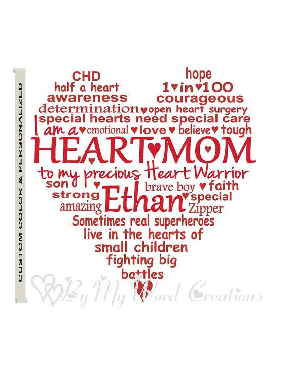 Personalized CHD Awareness Heart Heart Mom by ByMyWordCreations