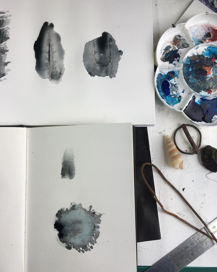 """found-fabricated: """"Drawing desk - lots in process amid the mess. #sketch #sketchbook #drawing #drawingdesk #studiolife #messydesk #mess #marks #markmaking #ink #paint #watercolour #stains #shapes #process #workinprogress #stuartcairns #artist #maker..."""