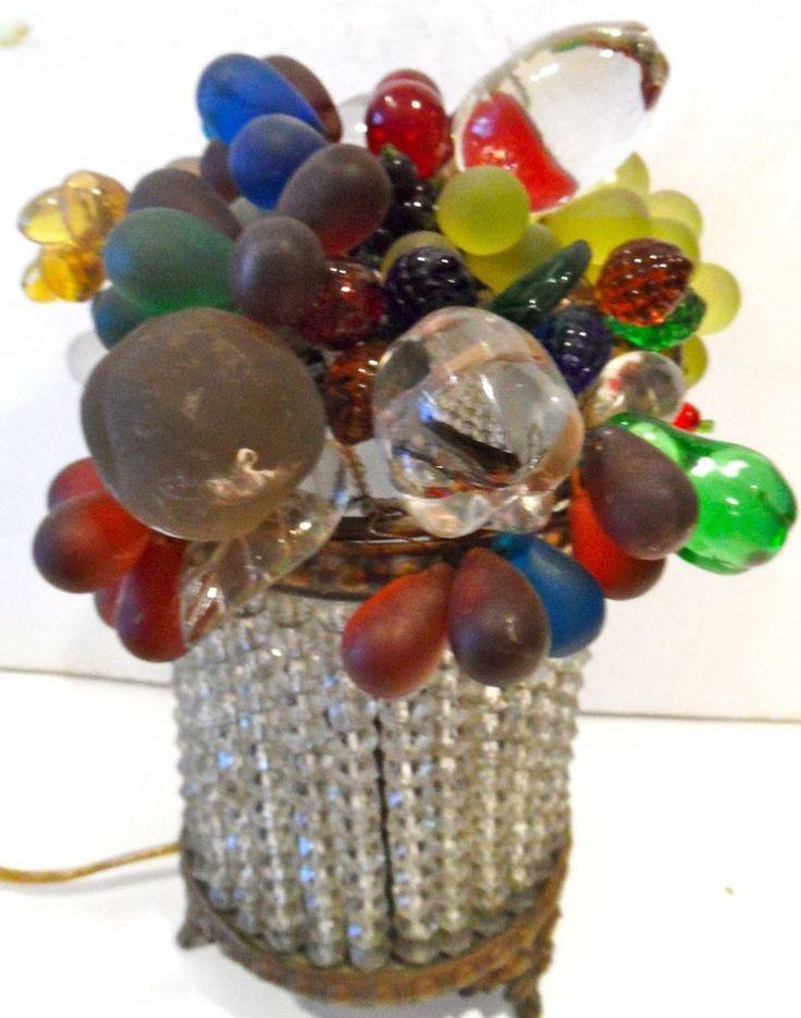 Antique czech glass beaded basket fruit lamp nice shape