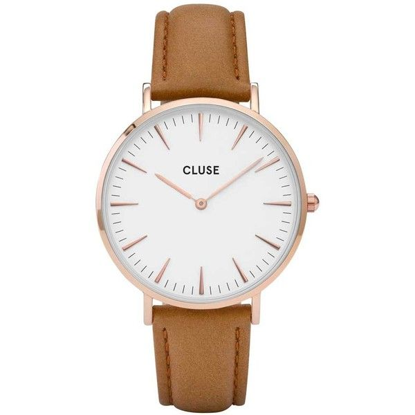 Cluse La Boheme Rose Gold Plated Brown Strap Watch CL18011 ($105) ❤ liked on Polyvore featuring jewelry, watches, boho chic jewelry, boho style jewelry, boho jewellery, bohemian jewelry and boho jewelry