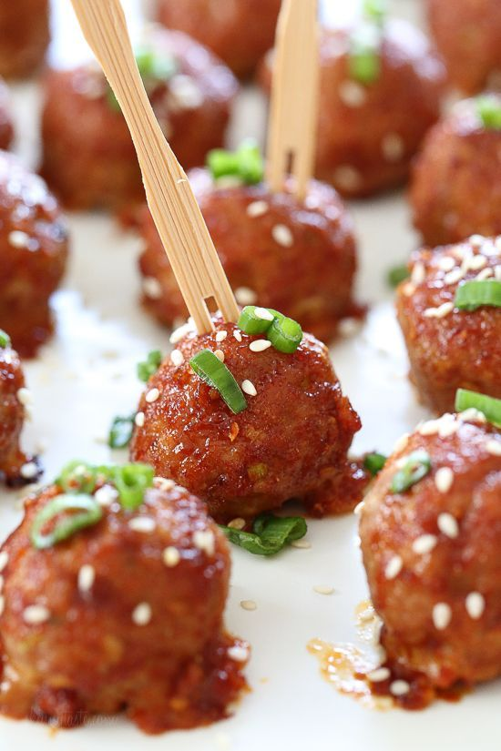These turkey meatballs are seasoned with ginger and spices and finished with a sweet and spicy, gochujang glaze. These are great as an appetizer or serve them with brown rice to make them a meal.