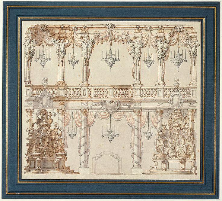 Театральный дизайн для столовой на нижнем этаже и балкон. Нижний этаж содержит 4 декорированные колонны corinthain с драпировкой, висит между ними, 2 скульптуры по бокам, люстра и камин. Балкон содержит столбцы с кариатидами, развешивание штор, и 5 люстр.