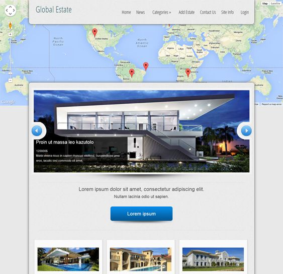 This Joomla real estate template includes search, featured listing, map, slideshow, and new listing components, cross-browser compatibility, demo content, a responsive design, a Bootstrap framework, and more.