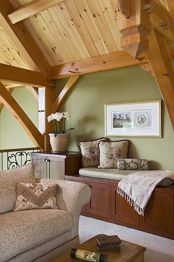 Such A Cozy Spot Perfect For Curling Up To A Good Book Log Home Interiors Log Home Interior Timber Frame Homes