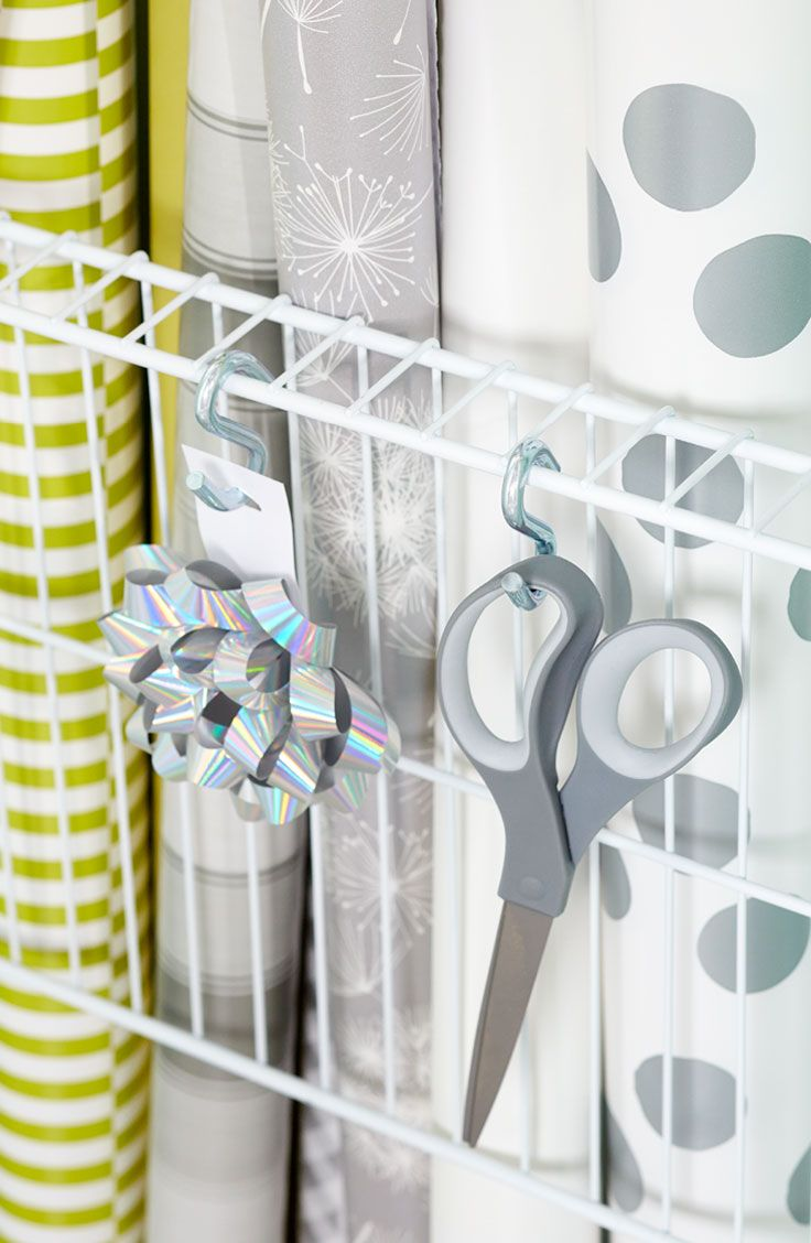 Exceptional Use A Section Of Wire Shelving And A Pair Of Plastic End Brackets To Create  A Simple Rack For Rolls Of Wrapping Paper. Put S Hooks To Work Along The  Wire ...